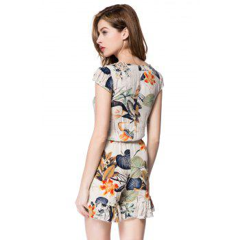 Stylish Women's Plunging Neckline Floral Print Romper - OFF WHITE OFF WHITE