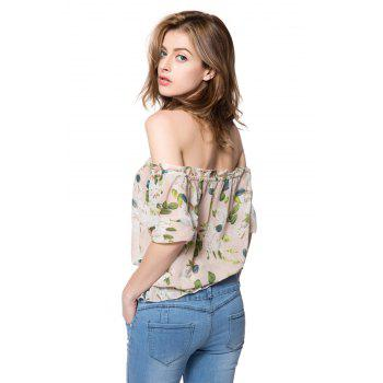 Stylish Women's Slash Neck Half Sleeves Print Blouse - AS THE PICTURE S