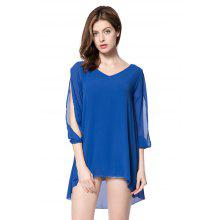 Stylish V-Neck Hollow Out 3/4 Sleeve Chiffon Dress For Women