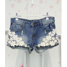 Fashionable Appliques Design Women's Shorts