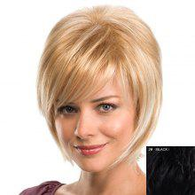 Charming 100 Percent Human Hair Natural Straight Side Bang Capless Women's Short Haircut Wig