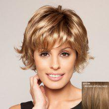Casual Style Sexy Full Bang Fluffy Tilt Short Wavy 100 Percent Human Hair Women's Capless Wig