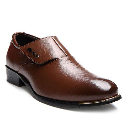 Career Pointed Toe and Magic Sticker Design Formal Shoes For Men - BROWN 43