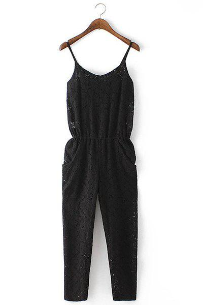 Sexy Spaghetti Strap Lace Elastic Waist Backless Women's Jumpsuit - BLACK S