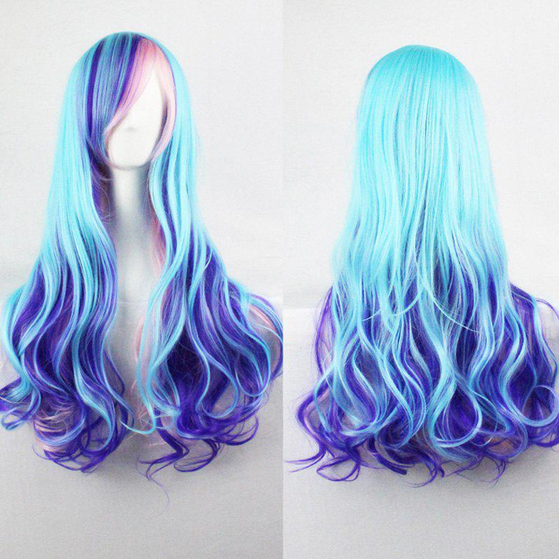 Harajuku Cosplay Lolita Style 70CM Fancy Color Shaggy Long Wavy Side Bang  Attractive Costume Wig thicken multi color lolita cosplay wig usps free shipping 150320