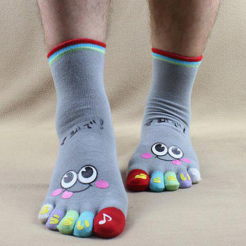 Pair of Stylish Cartoon Eyes Pattern Colorful Separate Toe Men's Knitted Socks - GRAY