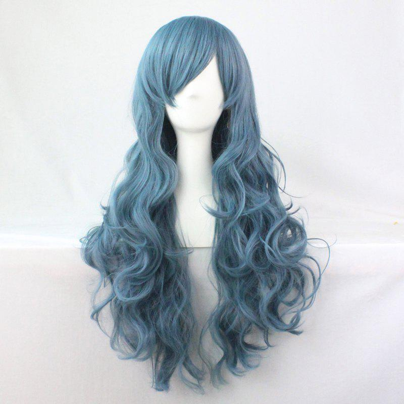 Charming Harajuku Cosplay Style Side Bang Shaggy Long Wavy Smoky Blue Costume Wig - COLORMIX