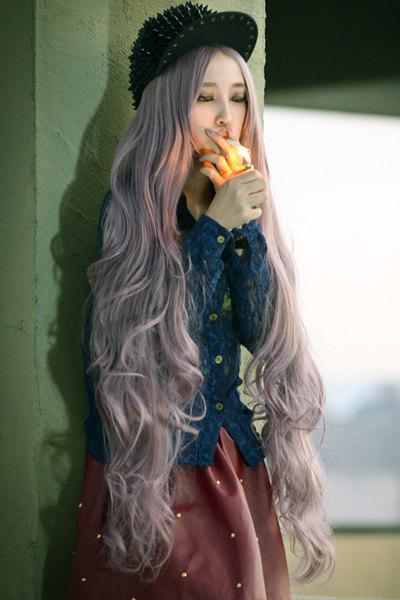 Charming Stylish 100CM Layered Shaggy Long Wavy Centre Parting Taro Color Cosplay Wig - COLORMIX