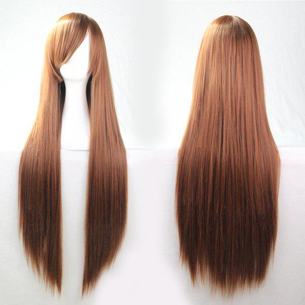 80CM Charming Glossy Side Bang Long Straight Heat Resistant Fibre Versatile Cosplay Wig heat resistant cosplay party tj new white cosplay long straight cos wig 100cm