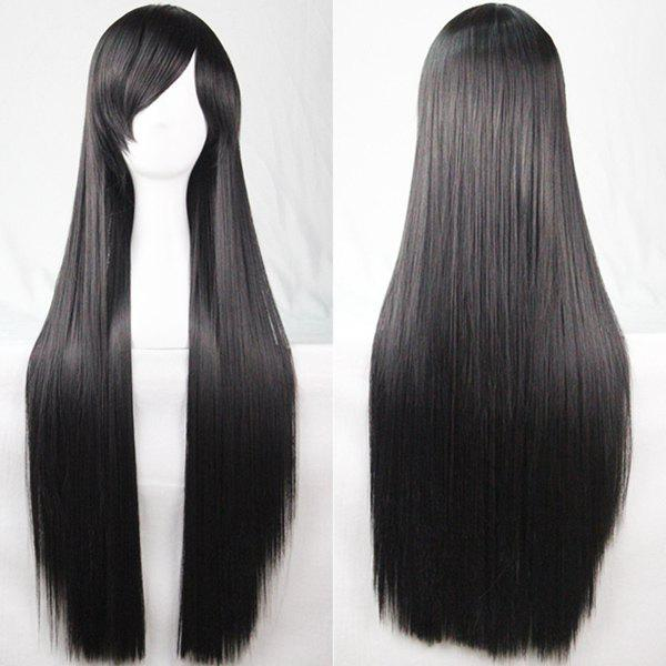 80CM Charming Glossy Side Bang Long Straight Heat Resistant Fibre Versatile Cosplay Wig qiyi charming glossy side bang long straight cosplay wig