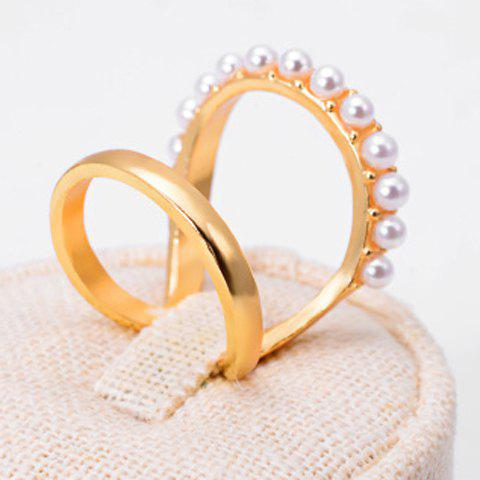 Simple Faux Pearl Layered Design Ring For Women - GOLDEN ONE-SIZE