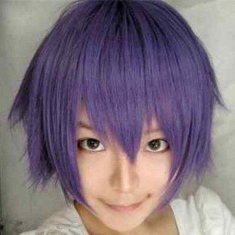 Stylish Handsome 28CM Tilt Shaggy Short Straight Heat-Resistant Harajuku Style Cosplay Wig -  PURPLE