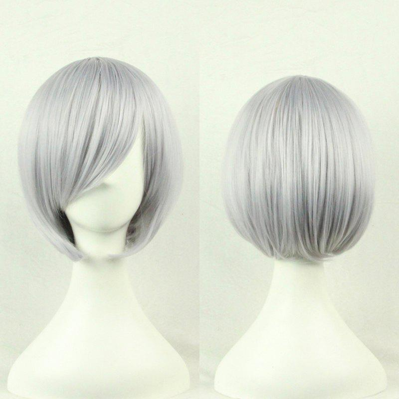 Top Quality Side Bang 24CM Shaggy Short Straight Prevailing Bob Hairstyle Cosplay Wig - GRAY