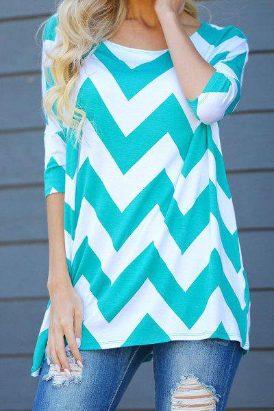 Stylish Scoop Collar 3/4 Sleeve Color Block Striped Women's T-Shirt - WHITE S