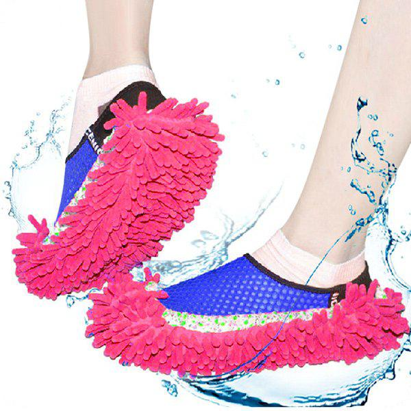 Practical Chenille Mop Slippers Dust Floor Cleaning Mopping Foot Shoes Home Pair CleanerHome<br><br><br>Color: RED