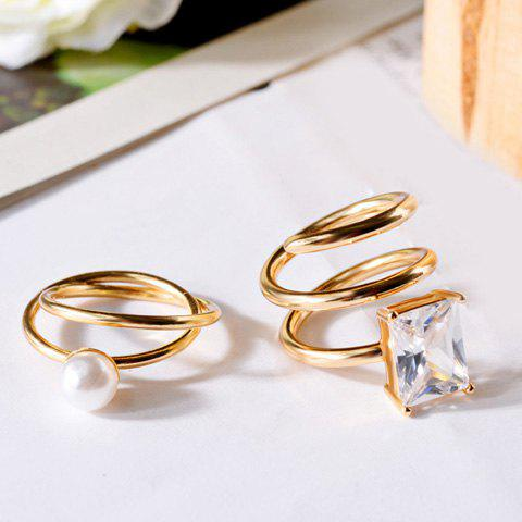 2PCS Simple Faux Pearl Rhinestone Layered Design Rings For Women - GOLDEN ONE-SIZE