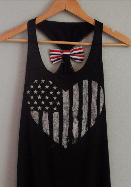 Casual Women's U Neck Printed Bowknot Embellished Tank Top - BLACK L