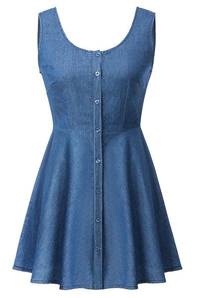 Fashionable Sleeveless Scoop Neck Single-Breasted Solid Color Denim Women's Dress - BLUE M