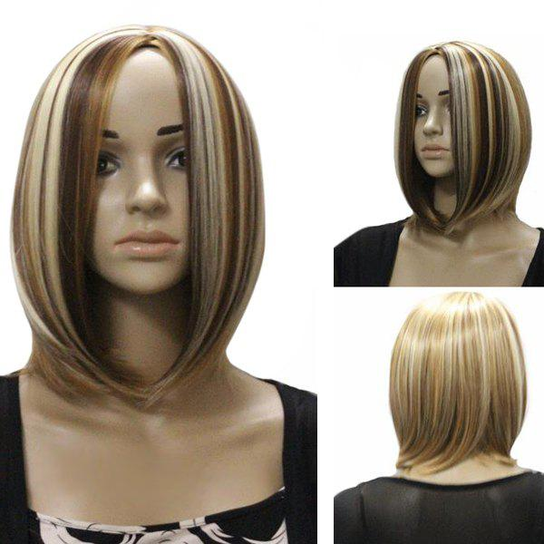 Fashion Centre Parting Medium Straight Charming Mixed Color Synthetic Capless Wig For Women top quality 2014 charming medium hairstyle mix color capless synthetic hair wigs