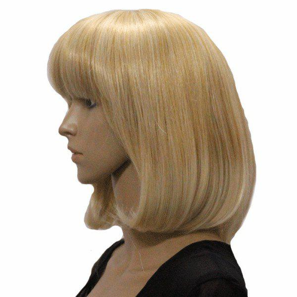 Fashion Full Bang Medium Wavy Charming Blonde Mixed Synthetic Capless Wig For Women - COLORMIX