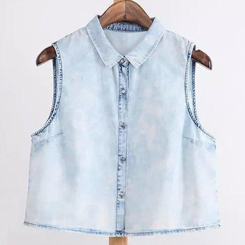 Stylish Sleeveless Shirt Collar Single-Breasted Bleach Wash Women's Shirt - LIGHT BLUE S