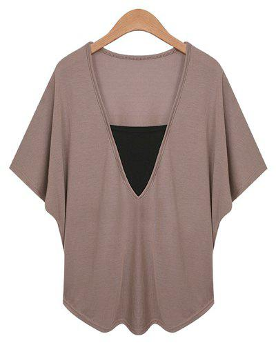 Sexy Women's V-Neck Dolman Sleeve Faux Twinset Design T-Shirt - DARK KHAKI 2XL