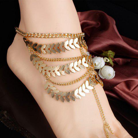Stylish Chic Leaf Tassel Layered Anklet For Women - GOLDEN
