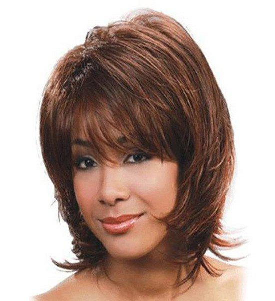 Fashion Side Bang Short Wavy Fluffy Charming Light Brown Synthetic Capless Wig For Women
