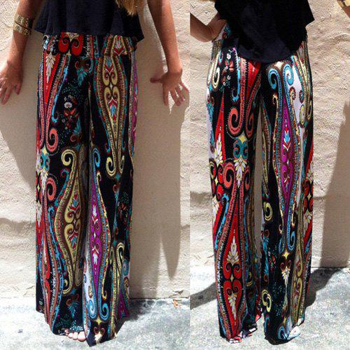 Fashionable High-Waisted Printed Loose-Fitting Women's Exumas Pants - BLACK L