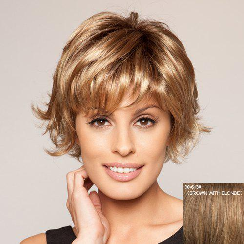 Casual Style Sexy Full Bang Fluffy Tilt Short Wavy 100 Percent Human Hair Women's Capless Wig - BROWN/BLONDE