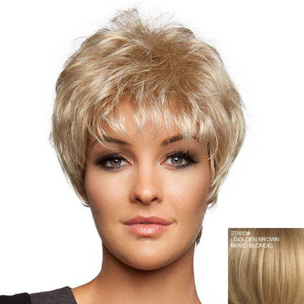 Extra Short Curly Fluffy Layered Full Bang Fashion Spiffy Women's 100 Percent Real Human Hair Wig - /