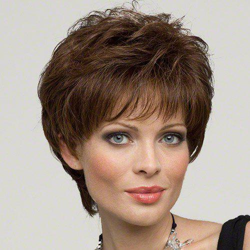 Classic Short Hairstyle Full Bang Towheaded Layered Curly Noble Elegant Women's Human Hair Wig - /