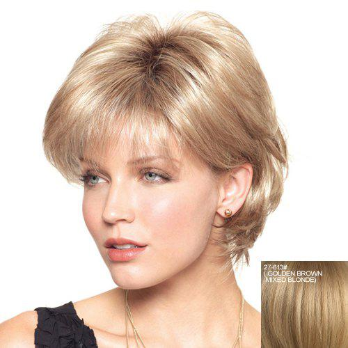 Dark Roots Fluffy Short Straight Full Bang 100 Percent Real Human Hair Casual Women's Capless Wig - /