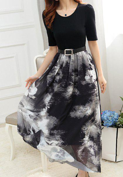Vintage Scoop Collar Short Sleeve Printed Spliced Women's Maxi Dress - BLACK M
