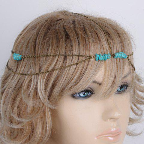 Classic Cute Asymmetric Turquoise Layered Link Hairband For Women - COPPER COLOR