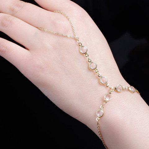 Faux Crystal Adjustable Link Bracelet With Ring - GOLDEN