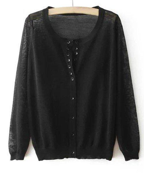 Stylish Long Sleeve Scoop Neck See-Through Solid Color Women's Knitwear - ONE SIZE(FIT SIZE XS TO M) BLACK