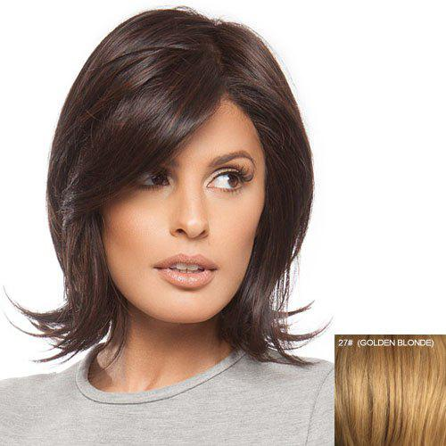 Stylish Human Hair Charming Elegant Fluffy Side Bang Medium Straight Women's Capless Wig