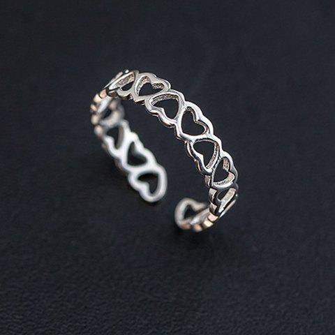 Charming Solid Color Hollow Out Heart Shape Cuff Ring For Women - SILVER ONE-SIZE