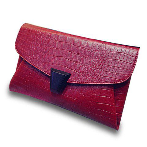 Stylish PU Leather and Crocodile Print Design Clutch Bag For Women -  RED