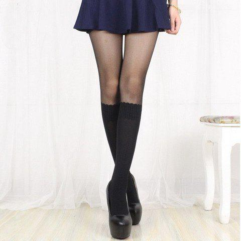 Chic Faux Black Mid-Calf Socks Pattern Women's Pantyhose