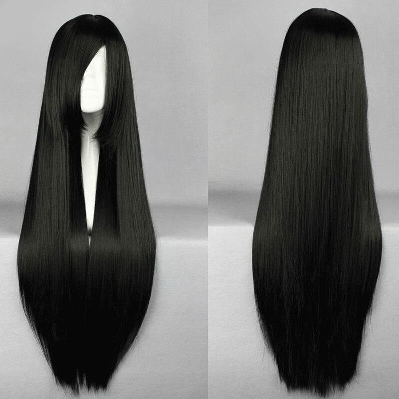 Trendy Long Straight Side Bang 100CM Harajuku Heat Resistant Synthetic Women's Cosplay Wig - BLACK