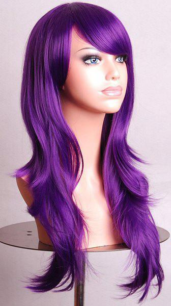 Trendy Long Big Wavy Side Bang 70CM Charming Heat Resistant Synthetic Women's Cosplay Wig - PURPLE