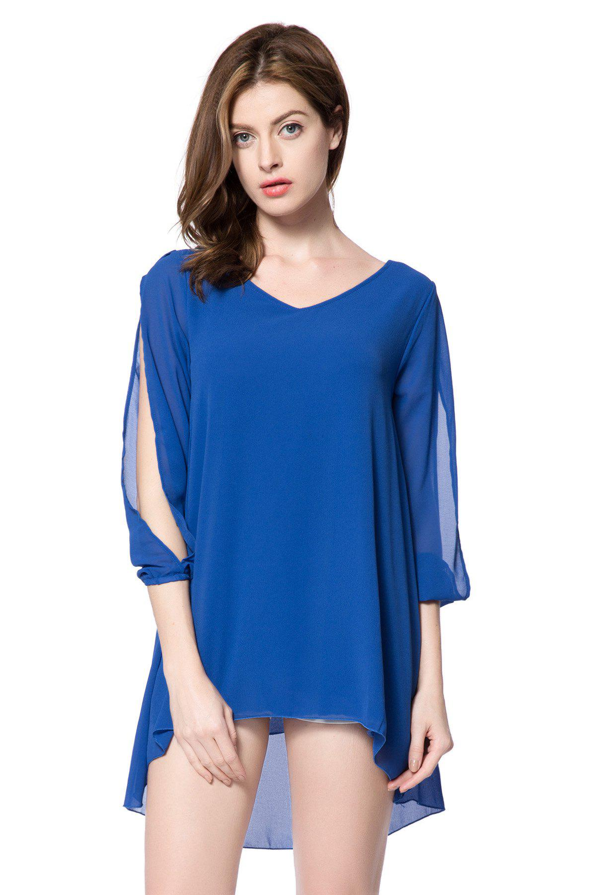 Stylish V-Neck Hollow Out 3/4 Sleeve Chiffon Dress For Women - SAPPHIRE BLUE M