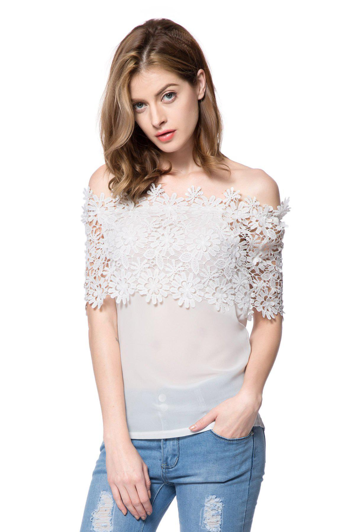 Stylish Slash Collar Short Sleeve Spliced Solid Color Women's Blouse - WHITE S