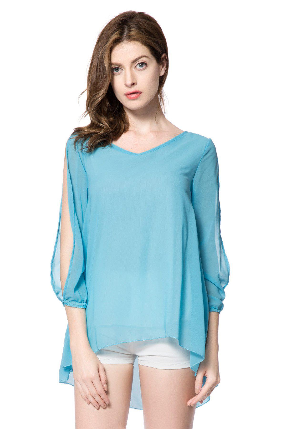 Stylish V-Neck Hollow Out 3/4 Sleeve Chiffon Dress For Women - LIGHT BLUE XL