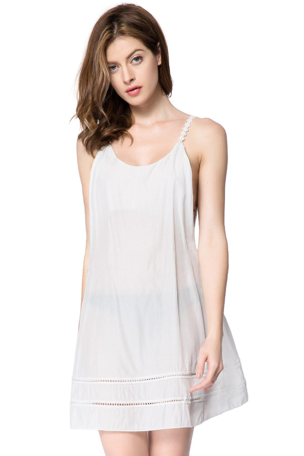 Sexy Scoop Neck Sleeveless Laciness Backless Women's Dress - WHITE S