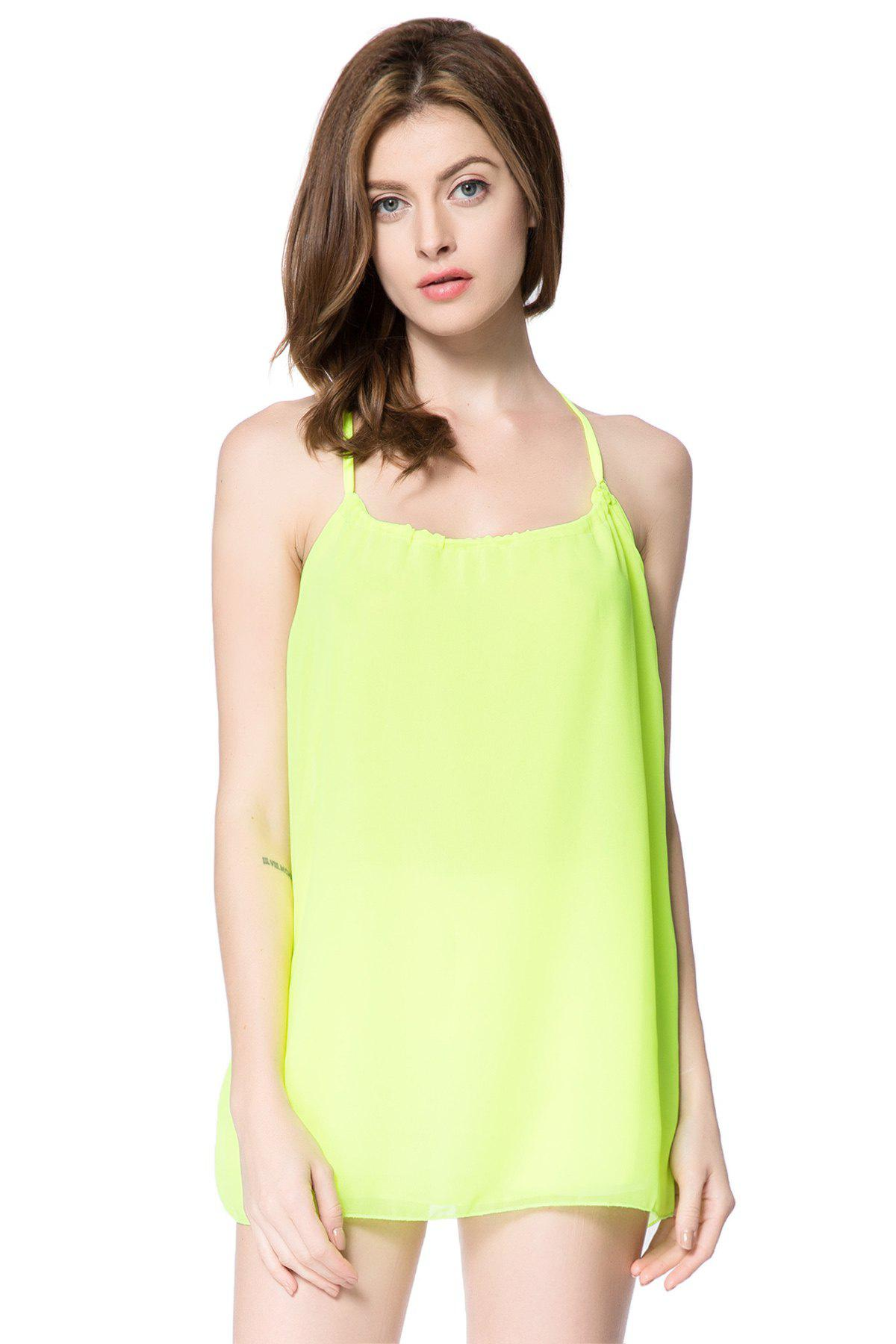 Sexy Scoop Neck Sleeveless Chiffon Backless Women's Blouse - GREEN M