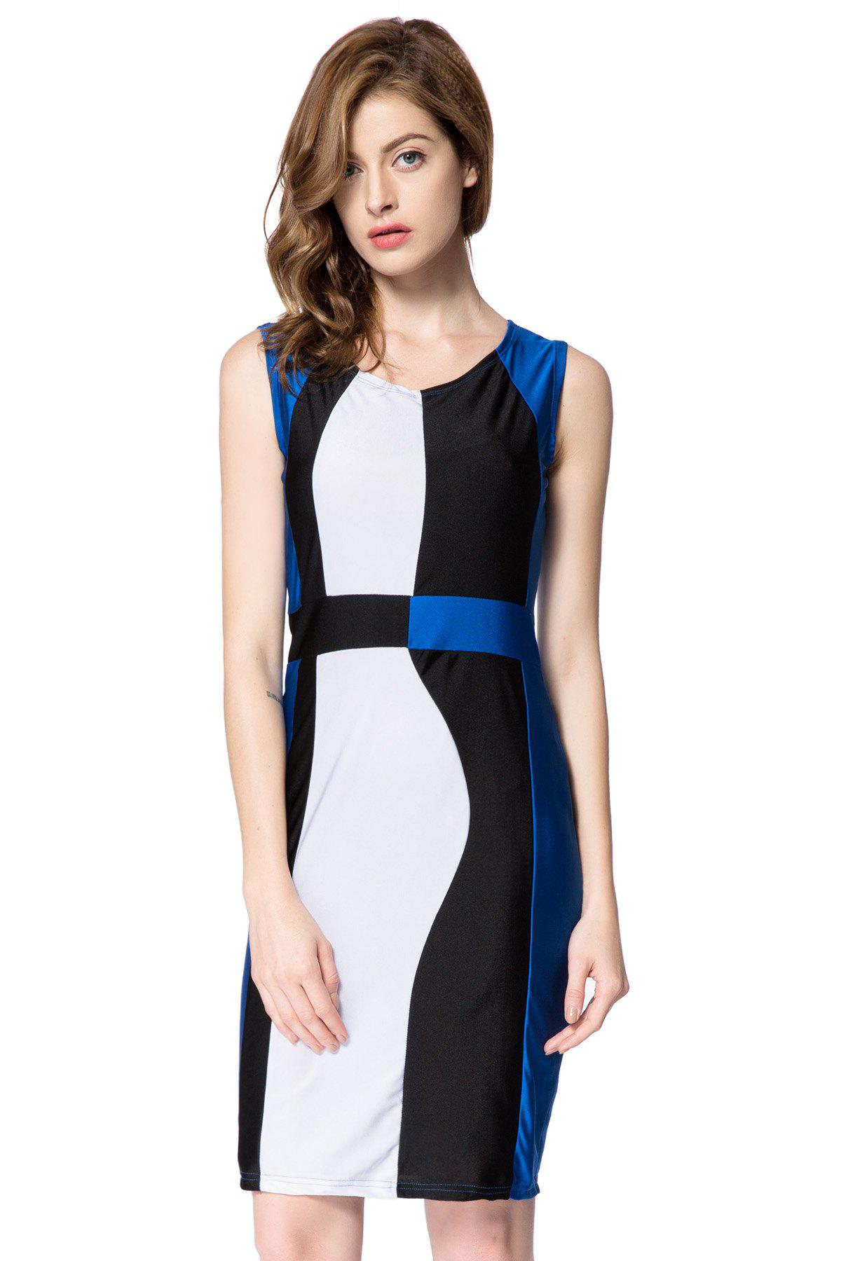 Simple Style Scoop Neck Sleeveless Color Block Packet Buttock Dress - BLUE L