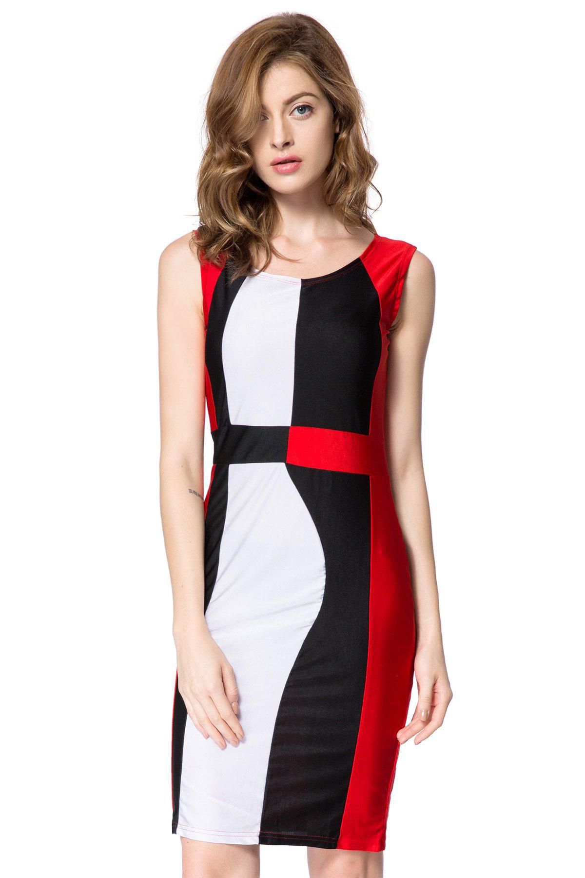 Style Simple Scoop Neck manches Color Block Packet Fesses Dress - Rouge M